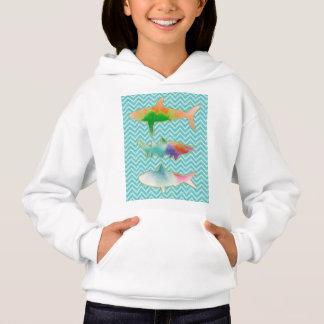 Fishes on zigzag chevron - Blue and Aqua Hoodie