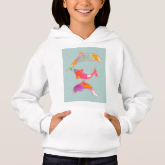 Fishes on zigzag chevron - green hoodie