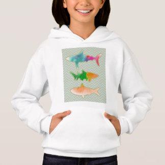 Fishes on zigzag chevron - mono hoodie
