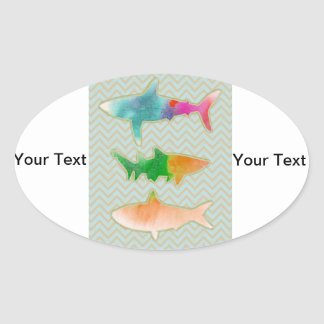 Fishes on zigzag chevron - mono oval sticker