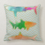Fishes on zigzag chevron - mono pillow