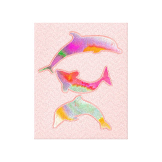 Fishes on zigzag chevron - pink canvas print