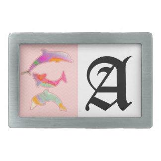 Fishes on zigzag chevron - pink rectangular belt buckle