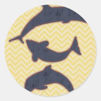 Fishes on zigzag chevron - Yellow Classic Round Sticker