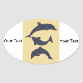 Fishes on zigzag chevron - Yellow Oval Sticker