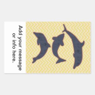 Fishes on zigzag chevron - Yellow Rectangular Sticker