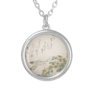 Fishes Swimming with Yellow Flowers - Japanese Silver Plated Necklace