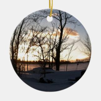 Fisheye snowy morning sunrise ceramic ornament