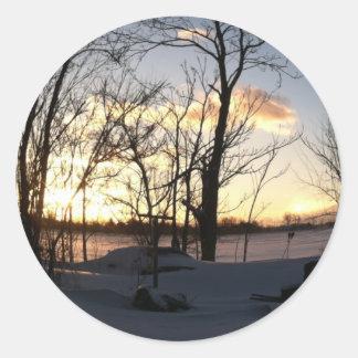 Fisheye snowy morning sunrise classic round sticker