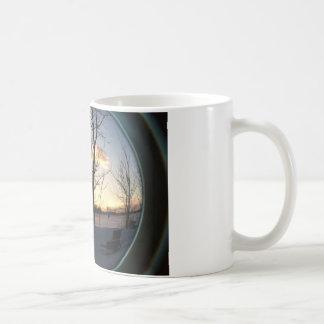Fisheye snowy morning sunrise coffee mug