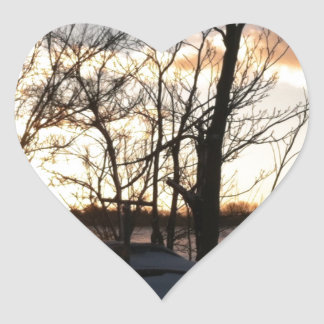 Fisheye snowy morning sunrise heart sticker