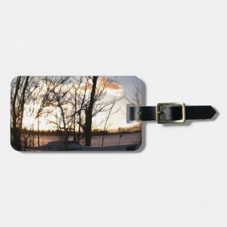 Fisheye snowy morning sunrise tags for luggage