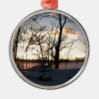 Fisheye snowy morning sunrise metal ornament