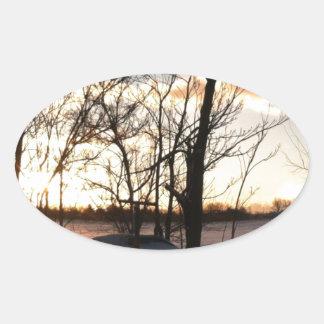 Fisheye snowy morning sunrise oval sticker