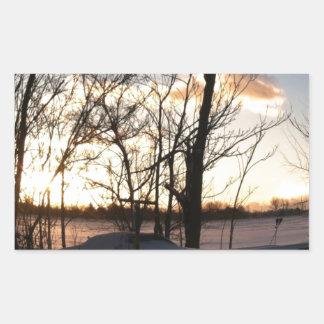 Fisheye snowy morning sunrise rectangular sticker
