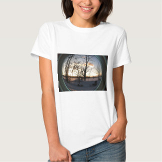 Fisheye snowy morning sunrise shirt