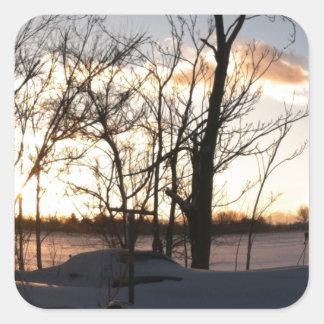 Fisheye snowy morning sunrise square sticker