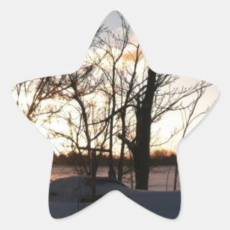 Fisheye snowy morning sunrise star sticker