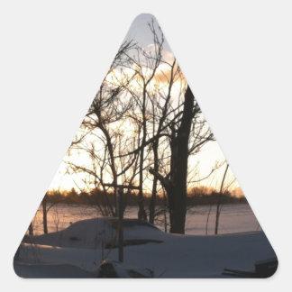 Fisheye snowy morning sunrise triangle sticker