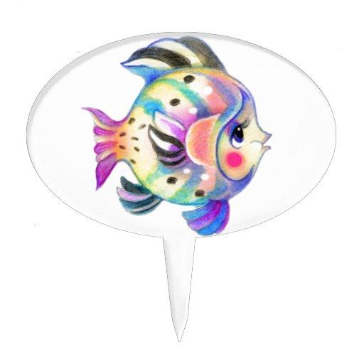 Fishie tropical lindo Kawaii Figura Para Tarta