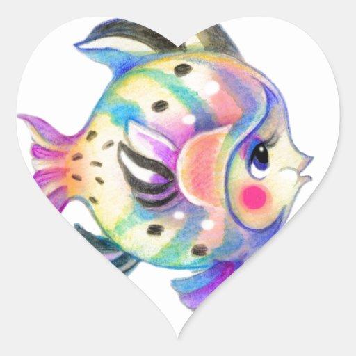 Fishie tropical lindo Kawaii Pegatina Corazón