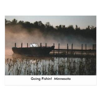 fishin boat fog, Going Fishin!  Minnesota Postcard