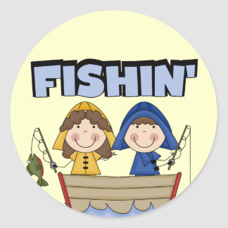 Fishin' Boat T-shirts and Gifts Classic Round Sticker