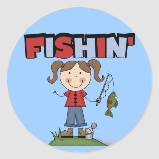 Fishin' Girl T-shirts and Gifts Stickers