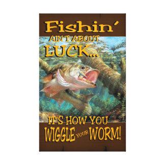 Fishin no está sobre lona envuelta suerte impresión en lienzo estirada