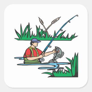 Fishing 2 square sticker