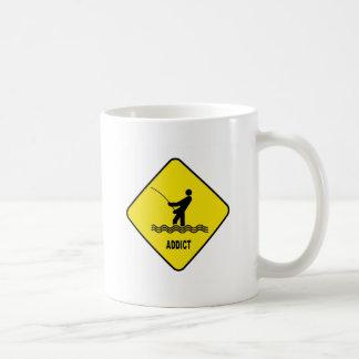 Fishing Addict Fly Fishing Caution Sign Mug