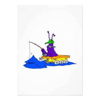 fishing alien on rover custom invitations