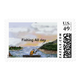 Fishing All Day By Rena Postage Stamp