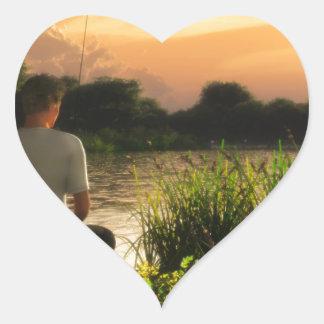 Fishing Alone Heart Sticker