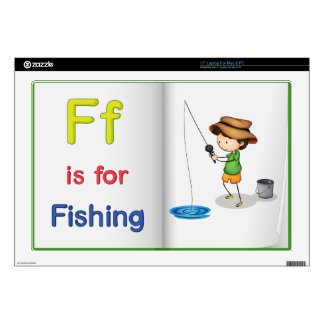 """Fishing and a book 17"""" laptop skins"""