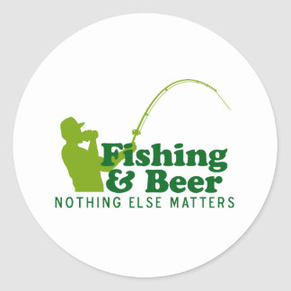 Fishing and Beer Classic Round Sticker