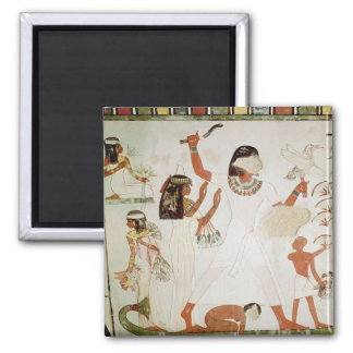 Fishing and fowling in the marshes 2 inch square magnet