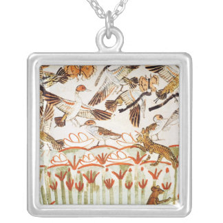 Fishing and fowling in the marshes silver plated necklace