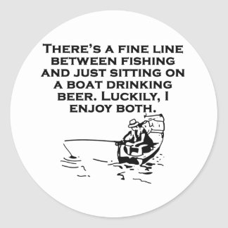 Fishing And Sitting In A Boat Classic Round Sticker