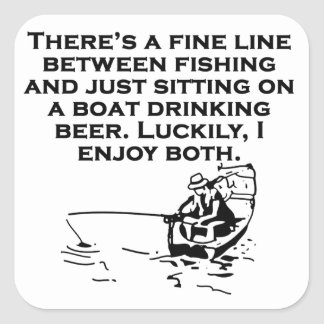 Fishing And Sitting In A Boat Square Sticker