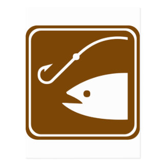 Fishing Area Highway Sign Postcard