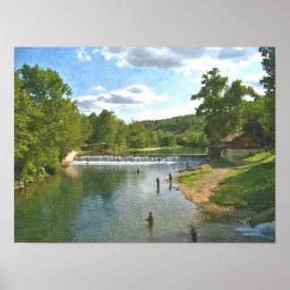 Fishing at Bennett Spring Print