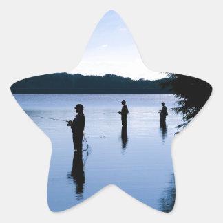 Fishing at Daybreak Star Sticker