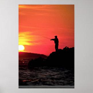 Fishing at sunset, Hockamok Head, Swans Island, Ma Print