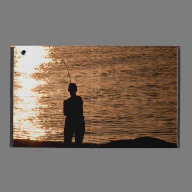 Fishing at sunset iPad cover