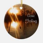 Fishing At Sunset Double-Sided Ceramic Round Christmas Ornament