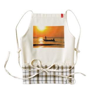 Fishing at sunset painting zazzle HEART apron