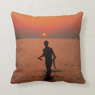 Fishing at Sunset Throw Pillow