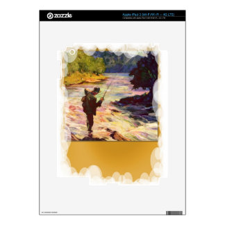 Fishing at the bend in the river decal for iPad 3