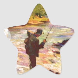 Fishing at the bend in the river star sticker